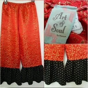 Art And Soul Girls Red Gold Satin Ruffle pants